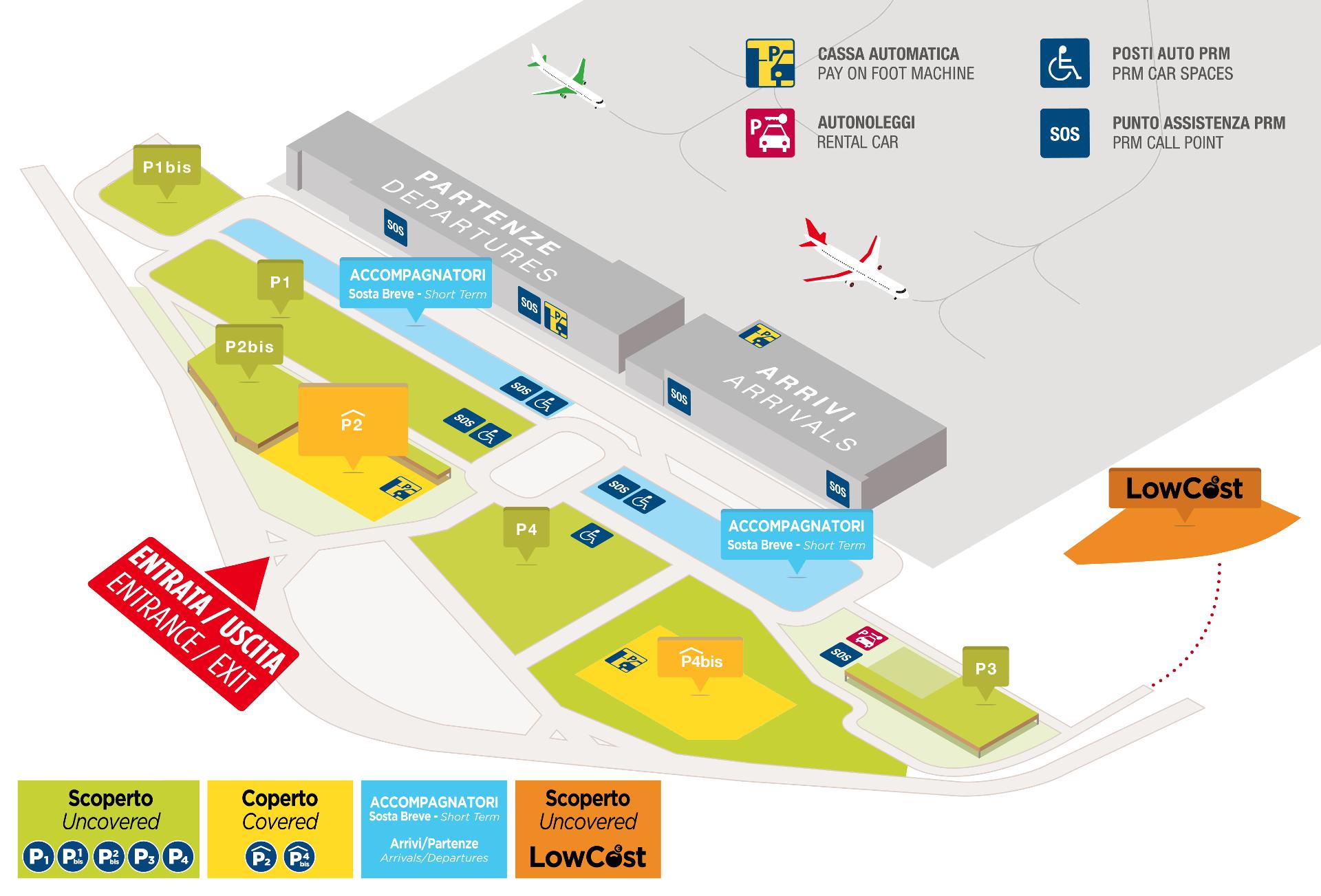 Cartina Verona.Mappa Dei Parcheggi Aeroporto Valerio Catullo Di Verona